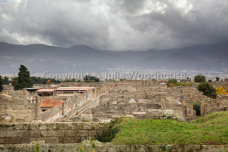 photo showing View Over The City With The Old City Walls, Pompeii, Campania, Italy