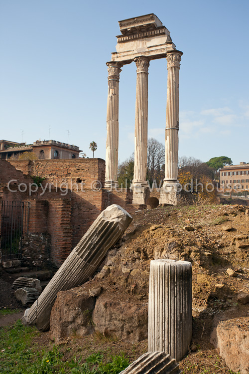 photo showing The Roman Forum, Temple Of Castor And Pollux, Rome, Italy