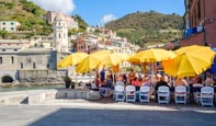 Outdoor Restaurant By The Harbour In Vernazza, Cinque Terre, Liguria, Italy
