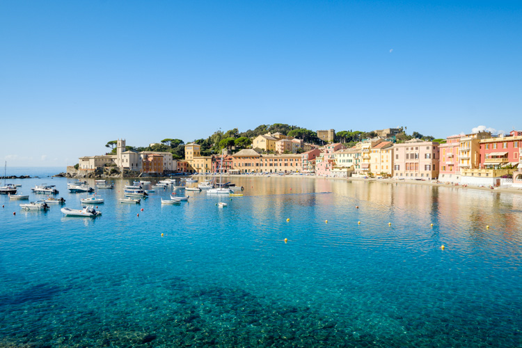 photo showing The Bay Of Silence And View Over The Old Town Of Sestri Levante On The Italian Riviera, Liguria, Ita