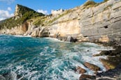 Coastline At Porto Venere With The View Up To The Castle Doria And The Byron Grotto, Porto Venere, L