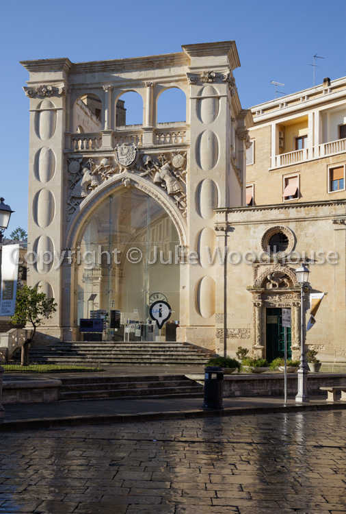 photo showing Sedile / Seat With Tourist Information Office And St Marks Chapel, Lecce, Puglia, Italy