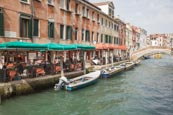 Thumbnail image of canal with outdoor restaurant on Fondamenta San Lorenzo, Venice, Veneto, Italy
