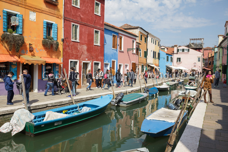 photo showing Fondamenta Di Cavanella With The Coloured Houses Of Burano, Veneto, Italy