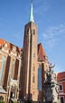 Thumbnail image of Church of the Holy Cross, St. Bartholomews with Statue St John of Nepomuk, Wroclaw, Poland