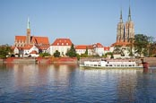 Thumbnail image of Cathedral Island Ostrow Tumski with tourist boat on the River Oder, Wroclaw, Poland