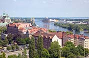 Thumbnail image of view over Szczecin towards port and Waly Chrobrego,  Poland