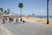 Passeig Del Mare Nostrum And Barceloneta Beach, Barcelona, Catalonia, Spain