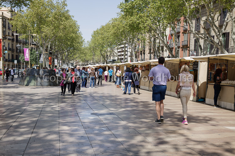 photo showing People Walking On La Rambla With Art And Souvenir Stalls, Barcelona, Catalonia, Spain
