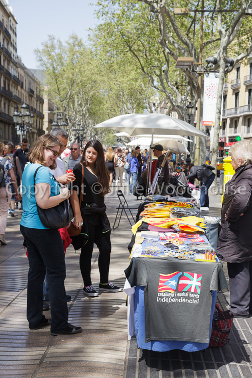 photo showing Catalan Independence Stall On La Rambla, Barcelona, Catalonia, Spain