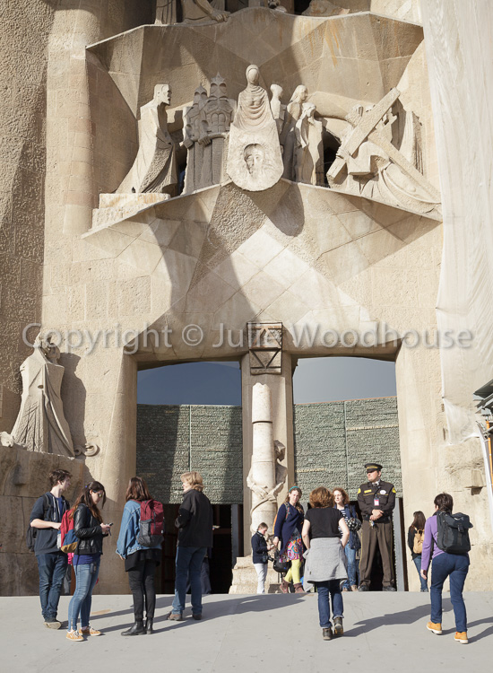 photo showing People Entering The Sagrada Familia, Barcelona, Catalonia, Spain