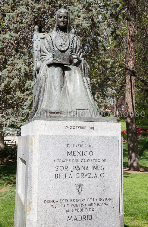 photo showing Statue Of Sor Juana Ines De La Cruz In Oeste Park, Madrid, Spain