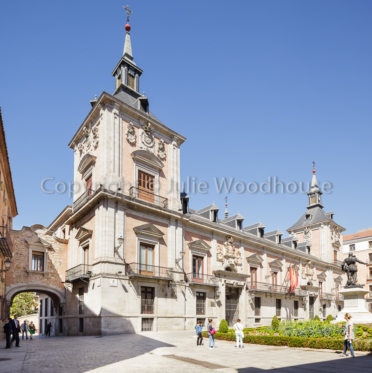photo showing Casa De La Villa (former Town Hall) In Plaza De La Villa With Arch To Casa De Cisneros, Madrid, Spai