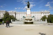 Thumbnail image of The Royal Palace with the Statue of Felipe IV from Plaza de Oriente, Madrid, Spain
