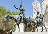 Sculpture Of Don Quixote And Sancho Panza In Plaza De Espana – Spanish Square, Madrid, Spain