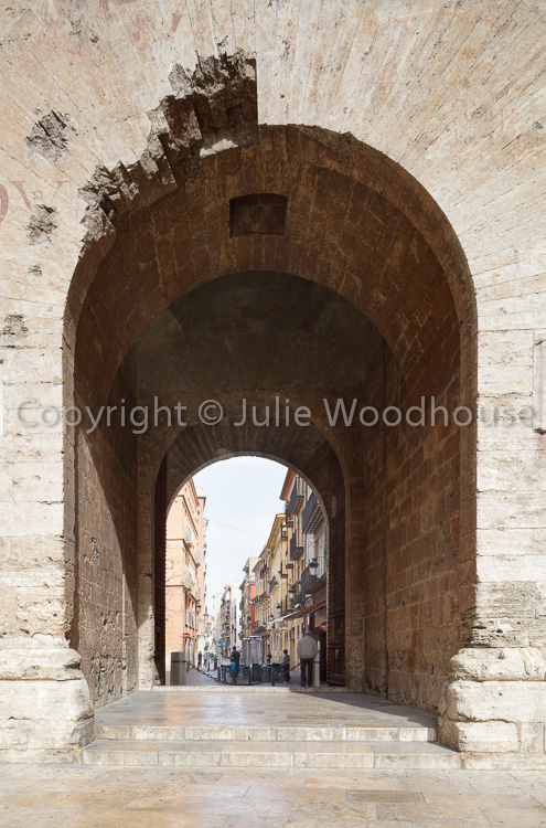 photo showing Looking Through The Torres De Quart To The Old Town, Valencia, Spain